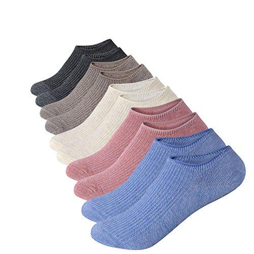 Anliceform calze basse da donna, antiscivolo, 5 paia taglio alla caviglia, calzini sportivi corti in cotone