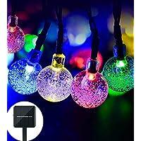 lederTEK 2 PACK Cadena de Luz LED con Energía Solar (6m 30LED) para Árbol de Navidad, Patio, Jardín, Terraza y Todas las Decoraciones con Diseño de Bolas de Cristal de Colores