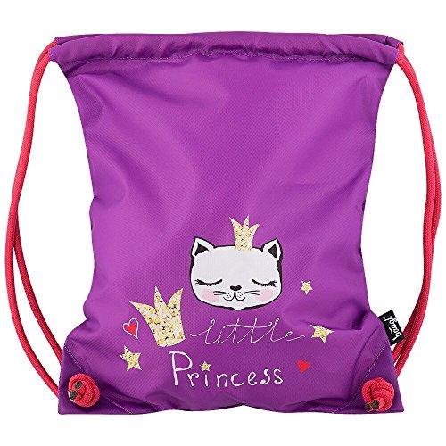 Baagl Kinder Sportsack für Sport und Schule - Wasserdichte Schuhbeutel, Turnbeutel für Mädchen (Little Princess)