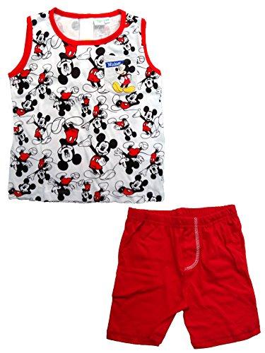 Disney completo neonato spalla larga pantaloncino mickey nuova collezione art. wd101315 (bianco, 36 mesi)