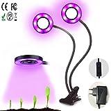 Xpassion LED Pflanzenleicht 24W LED Pflanzenlampe Doppelkopf Wachstumslampen 360°Schwanenhals Pflanzenlampe für Büro Haus [Energieklasse A+++]