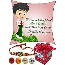 Happy raksha bandhan Quotes | rakshabandhan gift for brother | rakhi gift for sister | gift for rakshabandhan | gift for rakhi Superior quality Cushion Cover (16 X 16) with Filler for Raksha Bandhan Gifts.