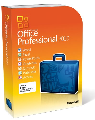 Microsoft Office Professional 2010 -Full Package Product,1 PC, 1 tragbares Gerät desselben Benutzers,DVD,Win,Deutsch,32/64-bit (Office 64-bit Microsoft 2010)