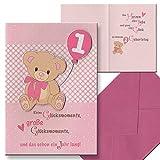 Kinderkarte Geburtstagskarte 1. Geburtstag Mädchen Kindergeburtstag Aufklappkarte Briefumschlag