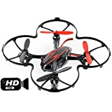 Hubsan Drohne H107C X4 Quadrocopter 2.4 Ghz 4 Kanal mit 720P HD Kamera Rot&Schwarz