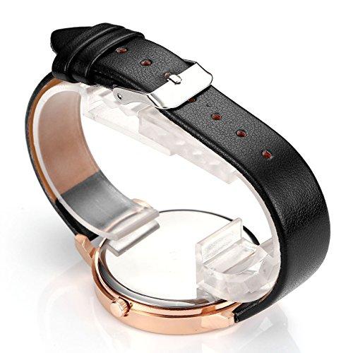 JSDDE Uhren,2er Set Modische Schmetterling Blumen Armbanduhr Basel-Stil Damen Uhr PU Lederband Rosegold Analog Quarzuhr - 4