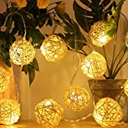 KH Rattan Ball String Lights, 5M 40 LED Warm White Fairy Light for Indoor,Bedroom,Curtain,Patio,Lawn,Landscape
