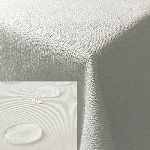 JEMIDI Tischdecke / Gartentischdecke Lotus Effekt Leinenoptik Tischdecke Decke Leinen Fleckschutz XL (Weiss, Eckig 160cm x 160cm) - Quadratische Weiße Leinen Tischdecke
