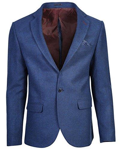 SMC by SEMCO Herren Premium Woll Sakko CKT-6058 - Slim Fit Blau