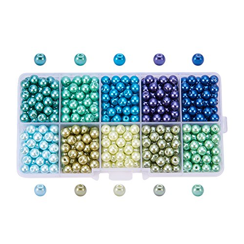 PandaHall Elite 600 Stück 10 Farbumwelt Pearlized Runde Glas Perlen