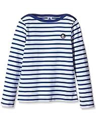 Petit Bateau Bruni - Sweat-shirt - À rayures - Col ras du cou - Manches longues - Garçon - Multicolore (Ecume/Source) - FR: 6 ans (Taille fabricant: 6 ans)