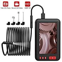 ‏‪MoKo Industrial Endoscope - Borescope Inspection Camera, 2M 1080P 4.3inch IPS LCD HD Screen Digital Semi-Rigid IP67 Waterproof Video Recording Handhold Snake Camera with 2000mAh rechargeable Battery‬‏