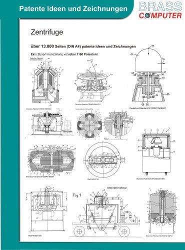 Zentrifuge, über 13.000 Seiten (DIN A4) patente Ideen und Zeichnungen