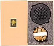Bakhoor BoSidin - Oud Incense Sticks Cambodian Bakhoor 10 Coils with Black Wooden Incense Burner - A9B