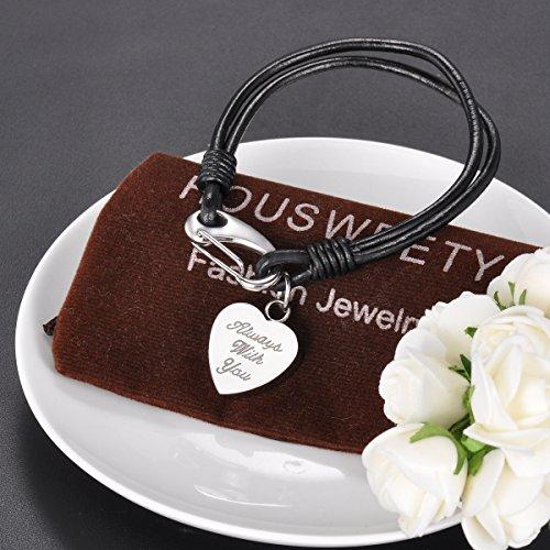 "HOUSWEETY Bracelet Cuir avec Breloque Acier Inoxydable Pendentif Coeur Keepsake Urne Cremation ""Always with you"" Pas Gravure"