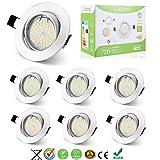 Liqoo® Lot de 6 Spots Encastrables GU10 LED 4W Lumière Blanc Chaud Lampe Projecteur Ampoule LED avec Fixation Recessed Cadre rond de Montage GU10 Douille 380lm Equivalente Incansdance de 35W