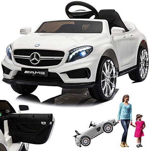 SIMRON Mercedes GLA45 AMG GLA 45 Kinderauto Kinderfahrzeug Kinder Elektroauto mit Tür (Weiss)