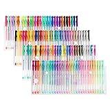 Magicfly Lot de 240 Stylos à encre gel multicolores Stylos Gel 120 stylos gel + 120 Recharges d'encre avec 2 étuis pour stylo non toxique