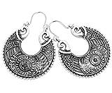 2LIVEfor Traumhafte Ohrringe Ethno Gross verziert Ohrringe Bohemian Vintage Ohrringe lang Hängend Antik Style Silber Ornamente Creolen Rund Creole Ornament