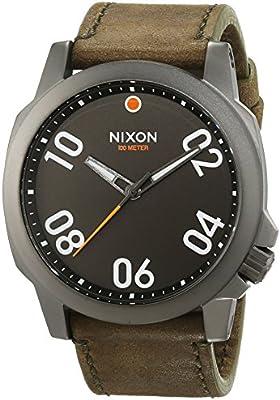 Nixon Ranger 45 Leather Gunmetal / Surplus A4662072-00 - Reloj para hombres, correa de cuero color marrón