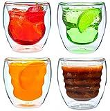 Ozeri - Set da 4 bicchieri a doppio fondo in materiale termoisolante da 250 ml, modello Curva Artisan