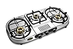 KARVYSilver color LPG Gas Stove Three Burner Standard size