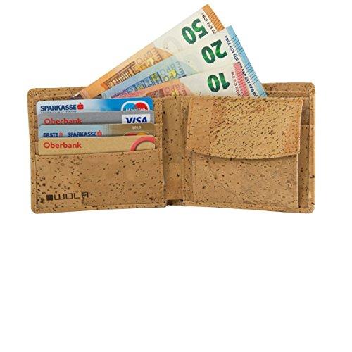 WOLA Herren Portemonnaie Kork Geldbeutel 4 Kreditkarten-Fächer Geldbörse mit Münzfach Korkleder vegan Natur Portmonee - 5