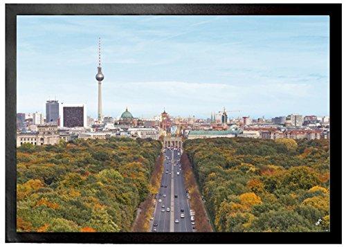 1art1 94233 Berlin – Blick Über Die Stadt, Von Der Siegessäule Zum Brandenburger Tor Fußmatte Türmatte 70 x 50 cm