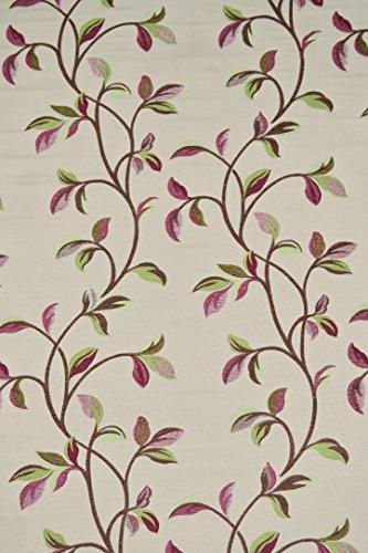 McAlister Textiles Essentials Kollektion   Annabel Bestickter Stoff Gobelin-Gewebe in Kirschrot 140cm Breite   per Meter   Textil Material Blumen Ranken Floral -