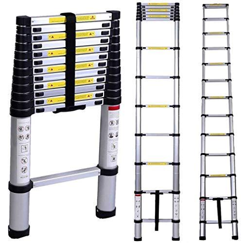 3.2M Leiter Mehrzweckleiter, Klappleiter Teleskopische Leiter mit Plattform mit Sicherheitsschloss Anti Rutsch Gummi, Aluminium DIY Erweiterbar faltbare Leiter Alu 150 kg Belastbarkeit