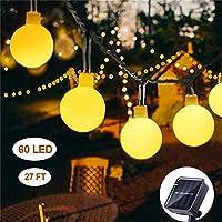 Solar String Lights Outdoor 60 LED, 8M/27Ft Solar Fairy Lights, 8 Modes Waterproof Solar Powered Globe Lights, Garden Lighting for Home, Yard, Party, Festival, Christmas, Decoration (Warm White)