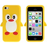 Coque silicone cartoon Pingouin pour iphone 5C jaune