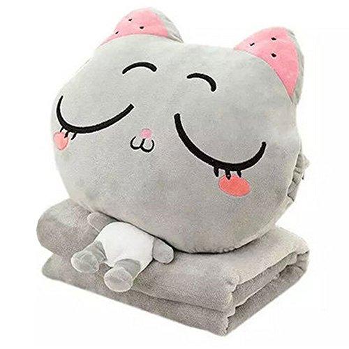 Katze Niedliche Korallen Fleece Angefüllte Tiere Plüschtiere Throw Pillow und Klimaanlage Auto Decke Kissen Set mit Hand wärmer Design. (Gray) (Niedliche Decke)