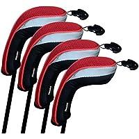 Andux funda de palo de golf híbridos set de 4 con intercambiable No. etiqueta MT/HY01 (Negro/rojo)