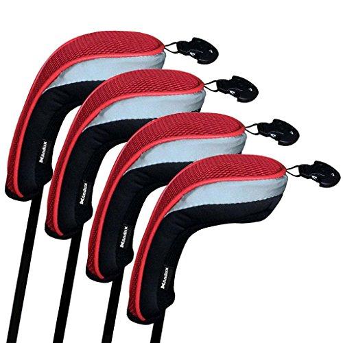 Andux couvre de tête du club de golf hybride 4pcs une serie noir et rouge interchangeables NO. tag MT/hy01