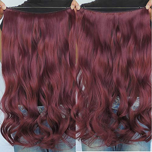 Secret Halo Hair Extensions Flip in Curly Wavy Hair Extension Synthetic Women Hairpieces 20 (Wine Red #BUG) by SY