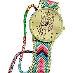Ularmo Women Girls Dreamcatcher Gold Dial Weaved Bnad Bracelet Multicolors Dress Watche Green+Pink