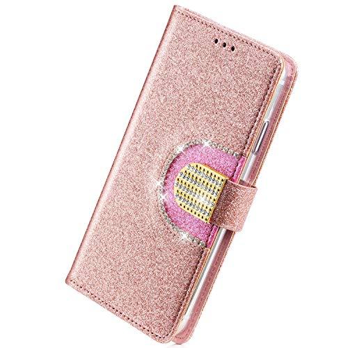 Herbests Kompatibel mit Motorola Moto G6 Plus 2018 Handyhülle Bling Glitzer Strass Diamant Handytasche Tasche Lederhülle Wallet Hülle Schutzhülle Flip Case Kartenfächer Magnetverschluss,Rose Gold