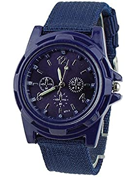 Unisex Militär Quarz Armbanduhr Infantry Armee Canvas Sport Uhren Blau