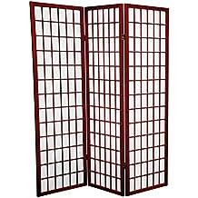 Tamaño pequeño muebles Orientales, 152,4 cm Classic plegable estilo japonés de suelo de pantalla habitación separador, 3 Panel de madera de palisandro