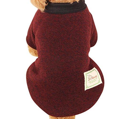 Nette Haustier Hundestrickjacke, Hmeng Einfarbig Wolle Pullover Haustier Welpen Katzen Warmes Hund Mantel 5 Größen 11 Farben (XL, (Neue Tshirt Kostüme Batman)