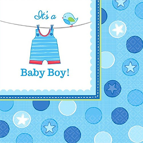 Amscan 511491 Kleine Servietten zur Geburt eines Jungen (in englischer Sprache), (Dress Geburt Up)