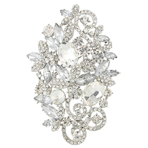 EVER FAITH® Cristal Autrichien Forme Ovale Fleur Hiver Broche Fantaisie Vintage Clair
