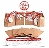 """OurWarm Scatole Regalo di Natale, Set di 24 Sacchetti Decorativi per bomboniere Natalizie Scatole di Carta Caramelle per Decorazioni per Feste Natalizie Forniture (4 Stile, 4.5 """"x 3"""" x 7 """")"""
