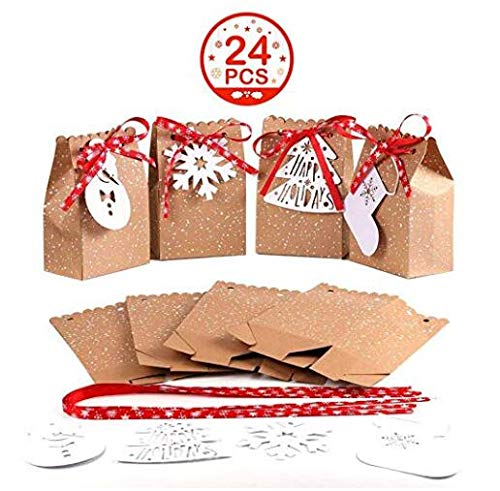 "Aparty4u Christmas Gift Boxes, Set of 24 Decorative Xmas Party Favor Bags Candy Paper Boxes for Christmas Party Decorations Supplies (4 Style, 4.5 "" x 3 "" x 7 "")"