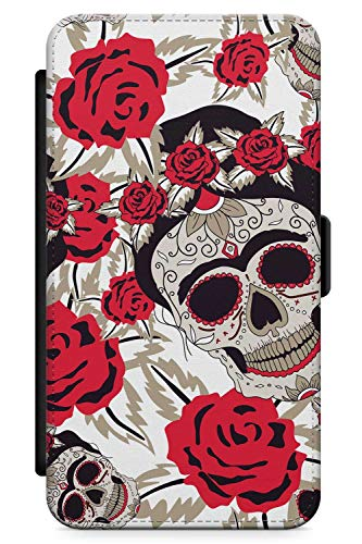 Max Muster Kostüm - iPhone XS MAX Case Zuckerschädel-Muster | Kunstleder Brieftasche Flip Card Slot Cover Kickstand | Tag Der Toten Dia De Muertos Mexikaner Kunst Kostüm