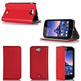 Wiko Cink Peax 2 Tasche Leder Hülle rot Cover mit Stand -
