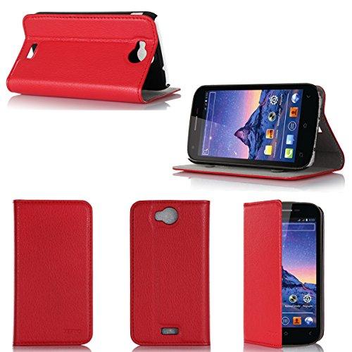 Wiko Cink Peax 2 Tasche Leder Hülle rot Cover mit Stand - Zubehör Etui Wiko Cink Peax 2 Flip Case Schutzhülle (PU Leder, Handytasche Rot) - XEPTIO accessories