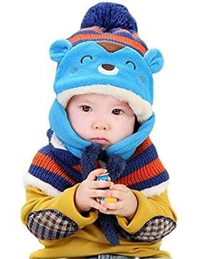 Babybekleidung Schals Longra Winter-Baby--Wolle-Hut + Schal Set Stricken Häkeln Kleinkind Kinder warme Mütze Beanie-Schal...