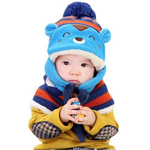 """Babybekleidung Schals Longra Winter-Baby--Wolle-Hut + Schal Set Stricken Häkeln Kleinkind Kinder warme Mütze Beanie-Schal(46-52cm/18.1""""-20.5"""") (Blue)"""